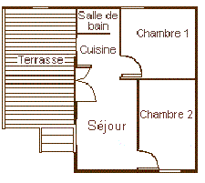Map of the chalet 4 personns with big terrace for rent in the Camping Le Roustou near Gap