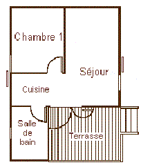 Map of the chalet 4 personns with small terrace for rent in the Camping Le Roustou near Gap
