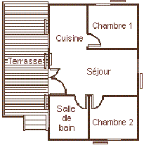 Map of the chalet 5 personns with big terrace for rent in the Camping Le Roustou near Gap