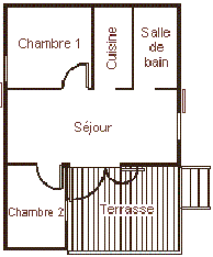 Map of the chalet 5 personns with small terrace for rent in the Camping Le Roustou near Gap