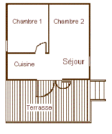 Map of the big bungalow for rent in the Camping Le Roustou near Gap