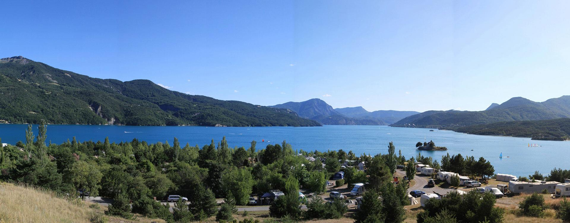 View of Camping Le Roustou, on the edge of the Serre-Ponçon Lake